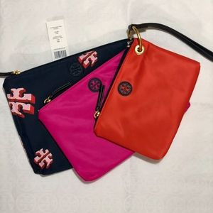 NWT~TORY BURCH~Trio of LOGO Packable Nylon Pouches